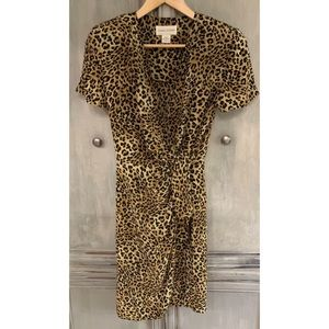 Casual Corner Vintage Silk Leopard Wrap Dress Sz 6